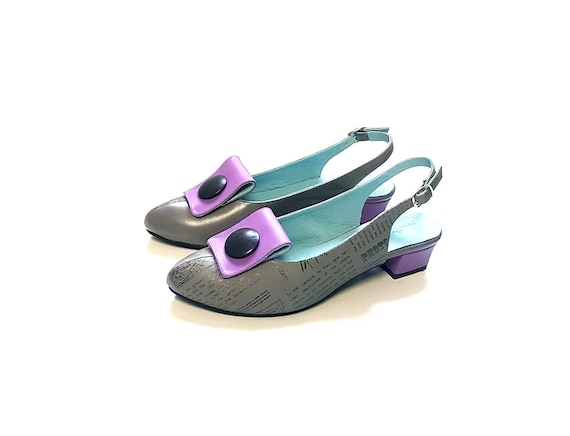 pumps Women's grey purple purple leather Purple shoes gray heels Purple leather sandals Low pumps women leather shoes shoes Women's g4q0wgx7