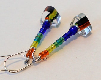 Rainbow Cane Glass  Handmade Earrings
