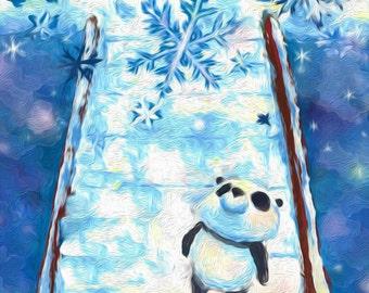 Panda & Schneeflocke | Illustration | Druck | Postkarte | by hasetill