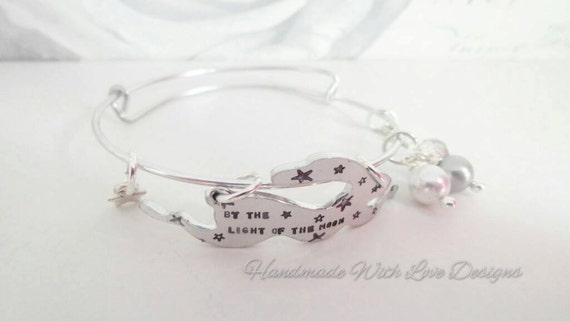 Handstamped adjustable bunny hare stackable lightweight summer bangle with beads and charms