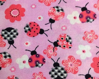 One Half Yard of Fabric Material - Ladybugs on Pink