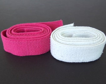 Vintage 1980's White and Hot Pink Elastic Belting