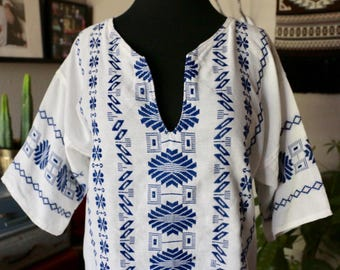 Vintage Embroidered White Cotton Ethnic Blouse, Gauze Blouse