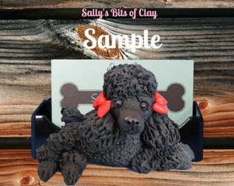 Black Poodle Dog with bows Business Card Holder / Iphone / Cell phone / Post it Notes OOAK sculpture by Sally's Bits of Clay