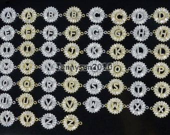 Clear Zircon Gemstones Pave Alphabet Bracelet Connector Charm Beads Silver Gold
