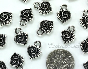 TierraCast Charms, Small Spiral Heart Charm, Spiral Hear Drops, Antiqued Fine Silver Plated Lead Free Pewter, 4 Pieces Or More, 7412