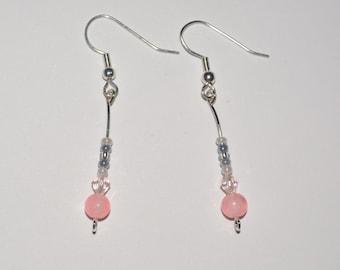Delicate Pink Bead Earrings