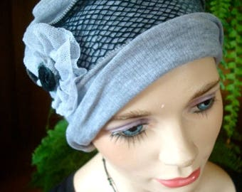 womens Hat chemo soft hat nice soft cotton knit pale grey headcover