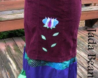 Lotus Flower Applique Patchwork Skirt