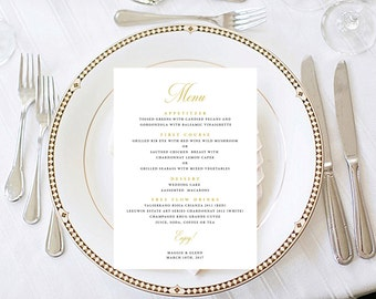 Traditional Menu, Wedding Menu, Party Menu, Calligraphy Scripted Gold Menu Digital Printable Menu_013