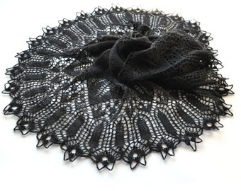 Black knit shawl, Goth shawl, Knit lace shawl, Knit shawl, Black lace shawl, Black wrap, Knitted shawl, Knitted lace scarf, Gift for wife
