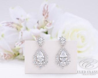 Bridal Jewelry Bridesmaid Jewelry Wedding Jewelry Crystal Bridal Earring Rhodium Vintage Inspired Dangle Earrings Bridesmaid Drop Earrings