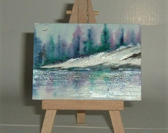 art painting aceo ATC reflections (ref E190)