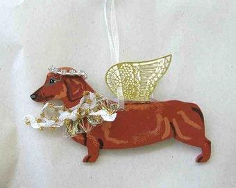 Hand-Painted DACHSHUND RED Metal Winged Angel Wood Ornament.....Artist Original
