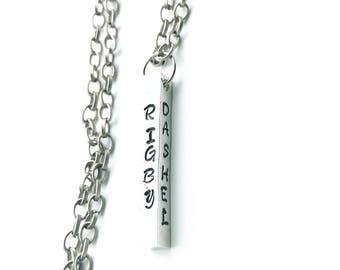 Custom Pendant necklace 4 sides names dates