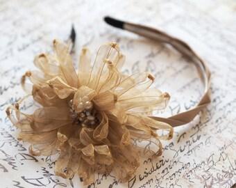 Gold Hair Headband, Ivory Wedding Hair Accessory, Gold Wedding Hair Flower, Shabby Chic Flower, Boho Headband, Gold Flower Headband