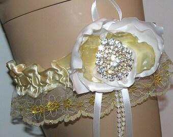 IVORY  satin RHINESTONE garter