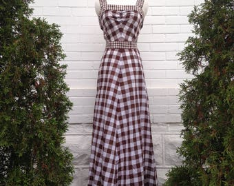 1970s Brown Gingham Dress with Belt and Cape