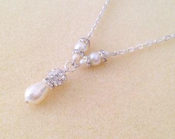 25% off - Bridal Y Necklace, Shorter Pearl Rhinestone Bridal Necklace, Bridal Y Style Necklace, Wedding Necklace, Ivory White