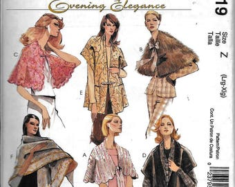 McCall's M4719 Evening Elegance Capes, Wraps & Shawls Sewing Pattern 4719 UNCUT Size L, XL