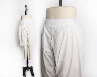 Vintage Victorian Embroidered Drawers  - Antique White Cotton Lawn Pantaloons Edwardian Lingerie