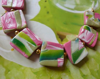 FANCY CREATING POLYMER CLAY, COLOR PINK GREEN BRACELET