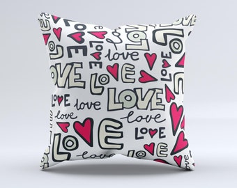 The Love and Hearts Doodle Pattern  ink-Fuzed Decorative Throw Pillow