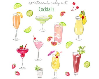 Cocktails Clip Art Collection  - Watercolor Cocktails - Watercolor Clip Art - Cocktails - Food Clip Art - Cocktails Clip Art - Printable