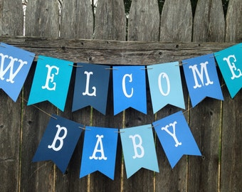 Welcome baby banner. Welcome baby sign. Baby boy shower decoration. Baby shower banner. Baby anouncement. Baby boy.
