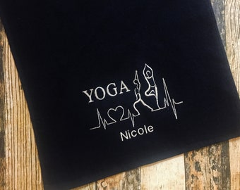 Yoga Towel with Hook - Personalized with Name - Available in Red, Royal Blue, Black or White - Yoga Stretches Heartbeat Embroidered