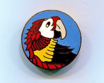 Enamel Parrot Bird Disc Pin
