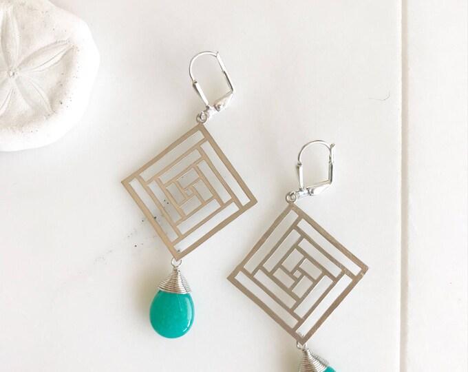 Geometric Chandelier Earrings.  Silver Teal Dangle Earrings.  Statement Earrings. Jewelry Gift. Fashion Drop Earrings. Chandelier Earrings.