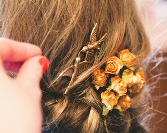 Rustic Roses Flower Hair Pins. Woodland. Goldenrod Yellow Hair Pins. Rustic. Wedding.Whimsical. Romantic, fall, autumn, Bridal Clip