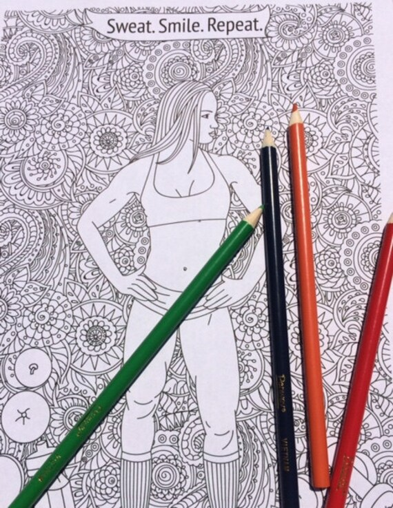 fitness coloring pages. Fitness Coloring Pages  Colouring Page Motivational Quote Adult
