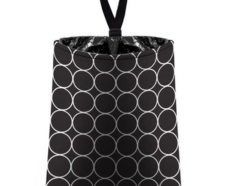 Car Trash Bag // Auto Trash Bag // Car Accessories // Car Litter Bag // Car Garbage Bag - Black and White Rings