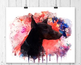 Doberman #4 Watercolor Fine  Art Print, Poster, Wall Art, Home Decor, Kids Wall Art, Play Room Wall Art, Nursery Wall Art, Archival print
