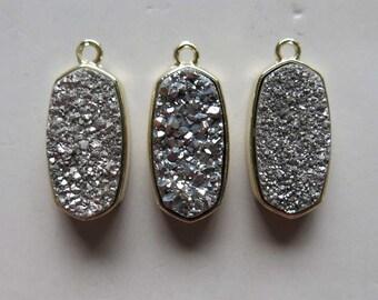 Silver Druzy Pendant Set In Gold Plated Bezel  - B1372