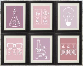 Nerdy Science Art in Pink & Purple - set of 6- 8x10 Instant Download Printables with Erlenmeyer Flask, Elements for science themed bedroom