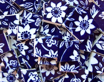 Blue and White Calico Chintz Flower Hand Cut China Plate Mosaic Tiles