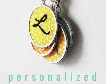 Embroidered Jewelry. Initial Necklace. Personalized Gifts for Her. Modern Hand Embroidery. Mothers Day Gifts. Custom Necklace. Initial Charm