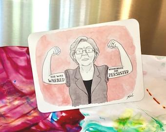 "Magnet of New Yorker cartoon ""Elizabeth Warren - She Persisted"""