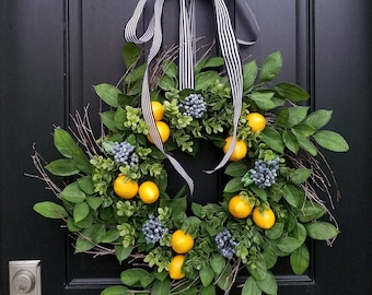 Front Porch Wreaths, SUMMER WREATHS, Lemons and Blueberry Wreath, Yellow Lemons Wreath, Boxwood and Lemons, Summer Door Wreaths