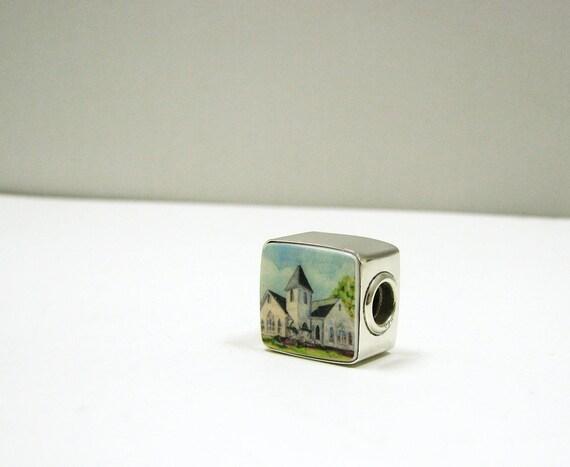 Large Hole Photo Charm for Pandora Style Charm Bracelet