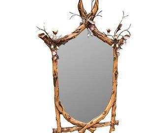 Vintage Faux Branch Mirror With Twigs & Birds