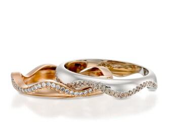 Diamond ring set, Gold diamond ring set, Rose gold diamond, Rose gold band, 14k diamond ring, White gold diamond band, Two tone ring