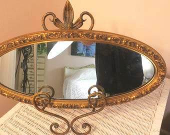 """Miroir... Fabulous Vintage miroir or Turner mur accessoire cartouche de Penney 9 1/2 """"x 22"""" w crochet pour accrocher"""