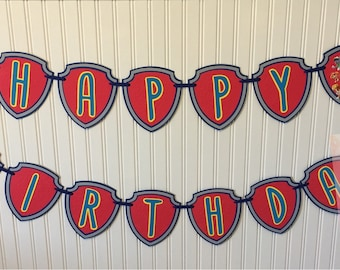 Paw Patrol Inspired happy birthday banner/ name banner