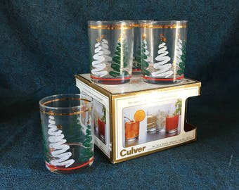 Vintage Culver Double Old Fashioned Christmas Tree Glasses, Mid Century Bar Glasses