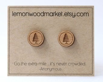 Evergreen tree earrings - alder laser cut wood earrings