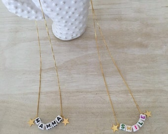 Golden necklace with customizable letters-Silver 925